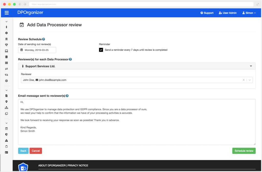 Screenshot of Data Processor Send review